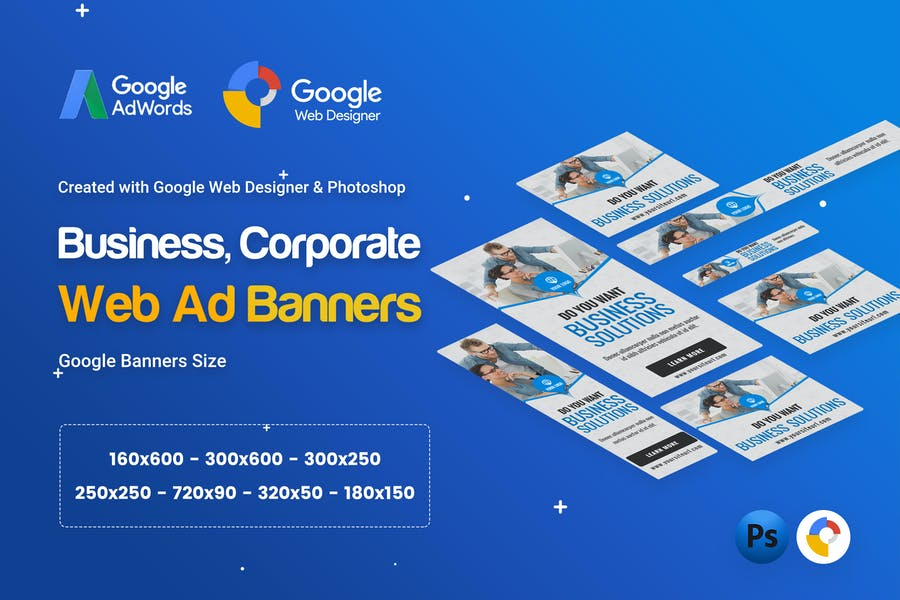 Business, Corporate Banner Ad - GWD & PSD