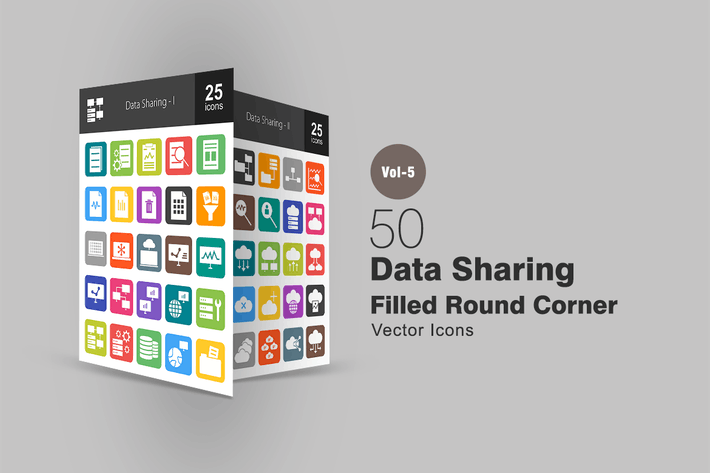 Thumbnail for 50 Data Sharing Flat Round Corner Icons