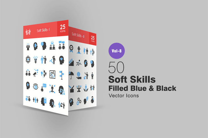 Thumbnail for 50 Soft Skills Blue & Black Icons