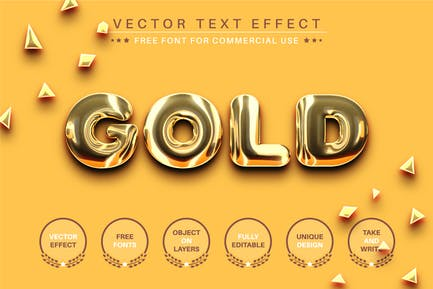 Realitic Gold -  Editable Text Effect, Font Style