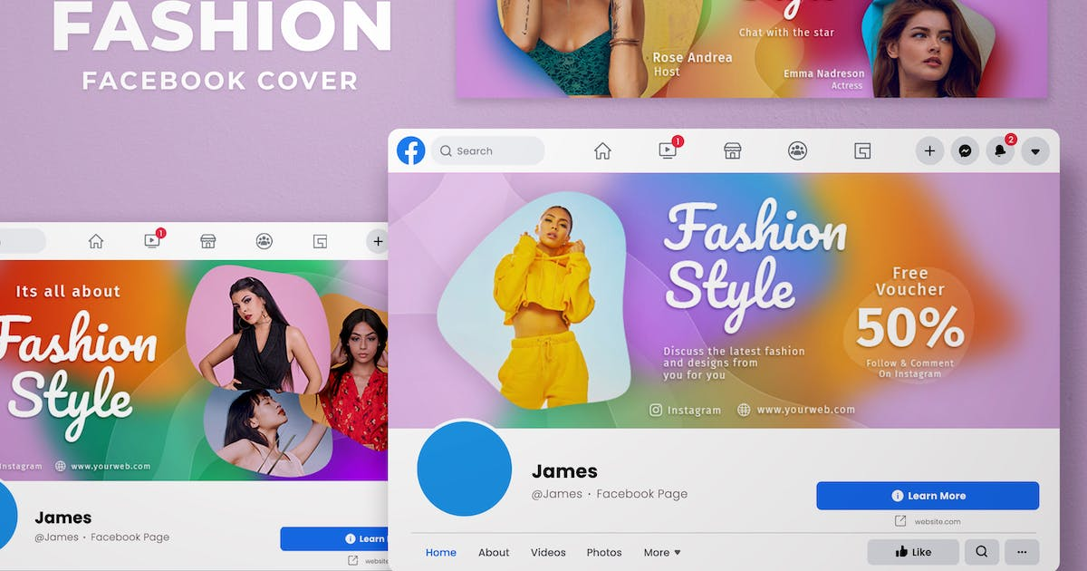 Download Facebook Cover Gradient Blur -  Fashion Fans Page by SlideFactory