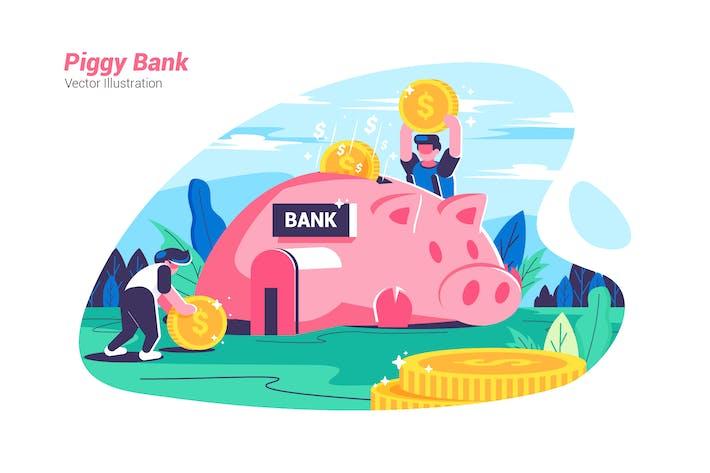 Thumbnail for Piggy Bank - Vector Illustration