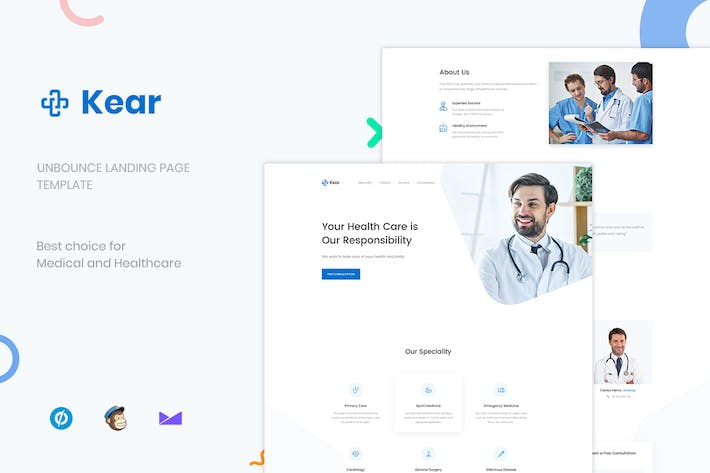 Thumbnail for Kear - Medical & Healthcare Unbounce Landing Page