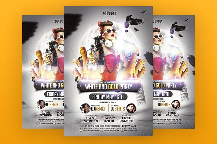 Thumbnail for White and Gold Party Flyer Template