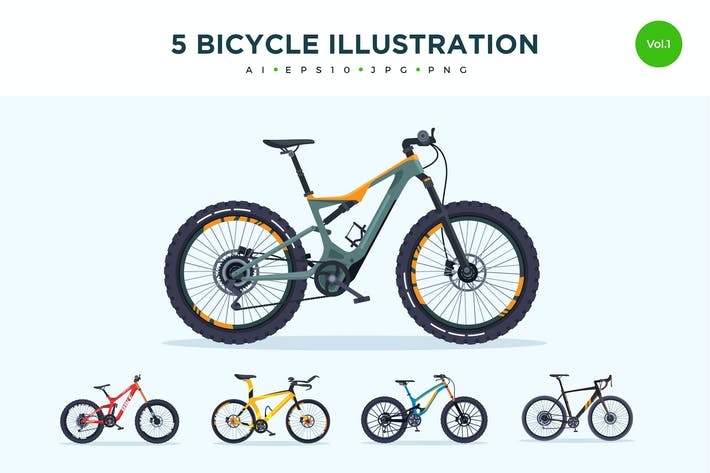 Thumbnail for 5 Sport Bicycle Vector Illustration Set 1