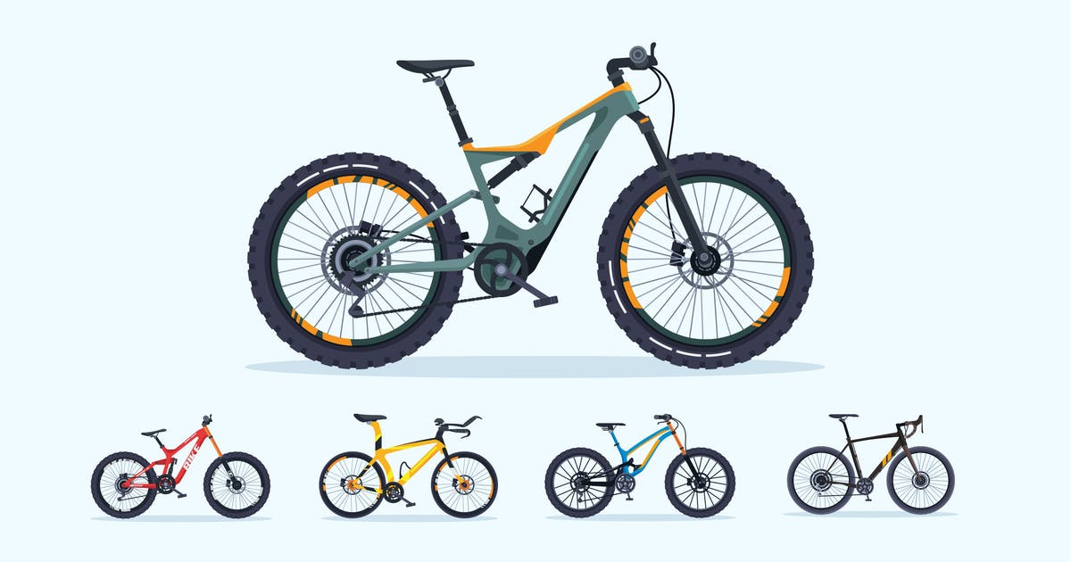 Download 5 Sport Bicycle Vector Illustration Set 1 by naulicrea
