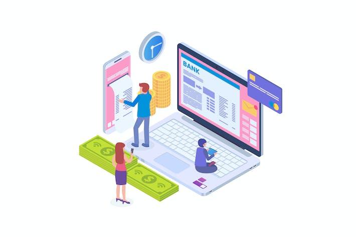 Thumbnail for Money Transfer Using Internet Banking Isometric
