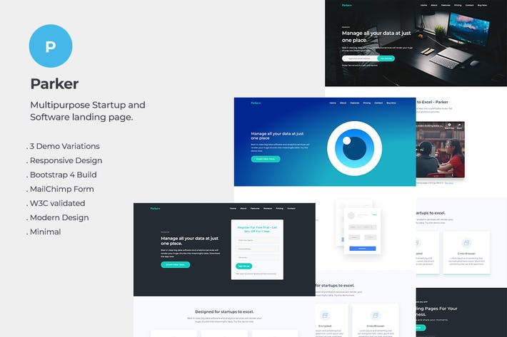 Thumbnail for Parker Software and Startup Landing Page Template