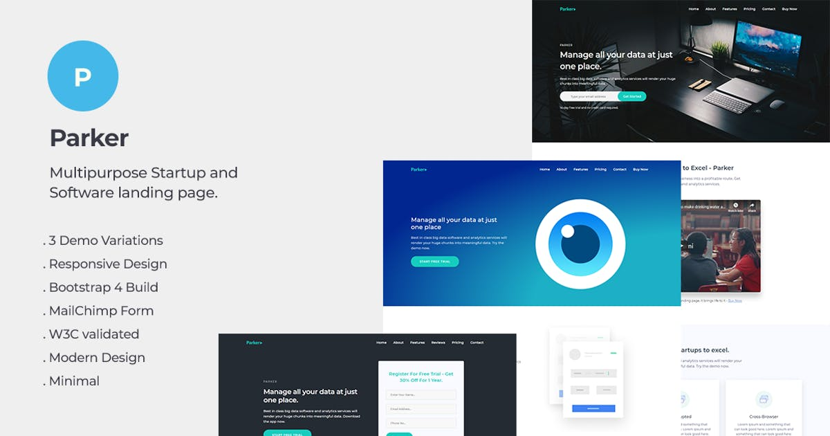 Download Parker Software and Startup Landing Page Template by YDirectionThemes