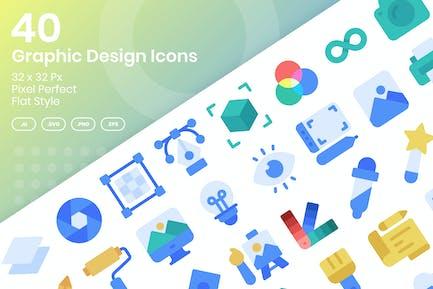 40 Grafik-Design-Icons Set - Flach