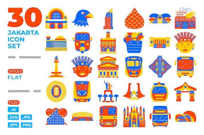 Thumbnail for Jakarta Icon Set (Flat)