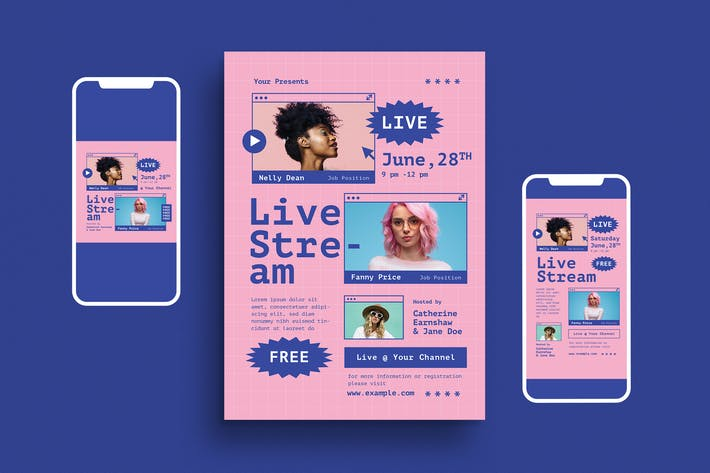 Thumbnail for Live Stream Event Flyer Set