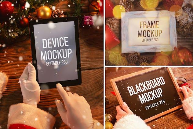 Santa Clause Tablet, Letter, and Blackboard Mockup