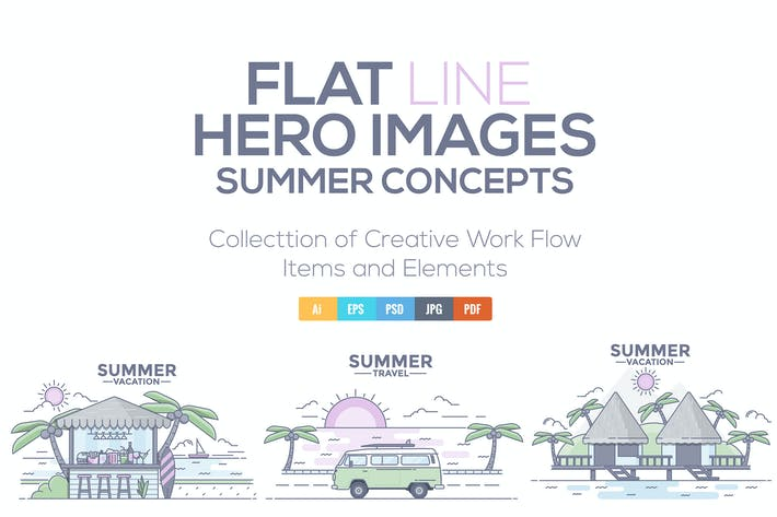 Thumbnail for Modern flat thin line design Summer Concepts