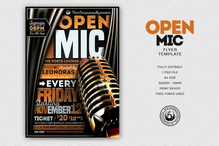 Open Mic Flyer Template