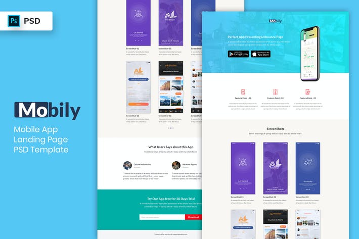 Thumbnail for Mobile App - Landing Page PSD Template-06