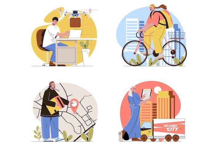 Lieferung flachgelegte Illustrationen Set