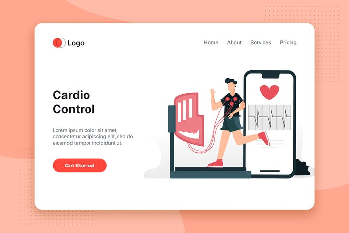 Thumbnail for Cardio Control flat concept for Landing page
