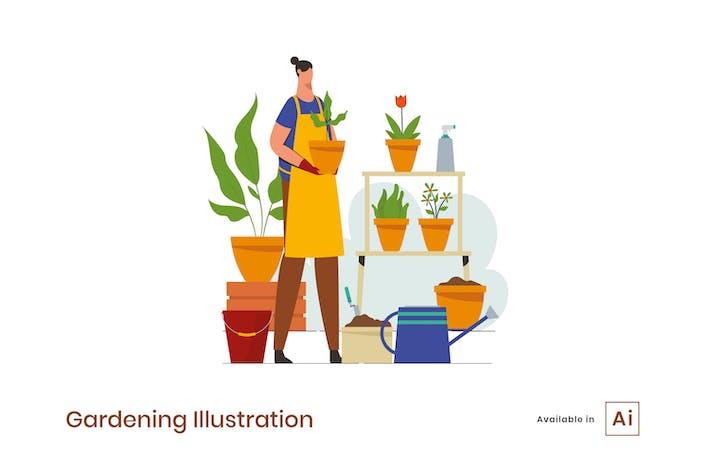 Thumbnail for Gartenarbeit Illustration