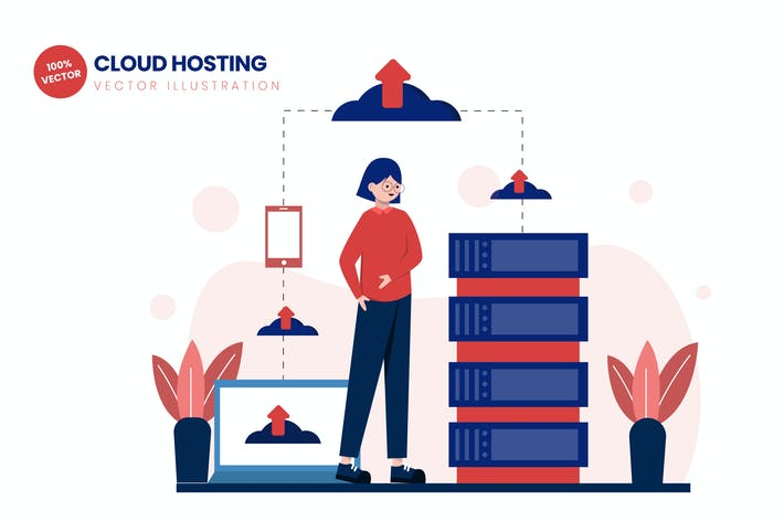 Thumbnail for Cloud Hosting Flat Vector Illustration