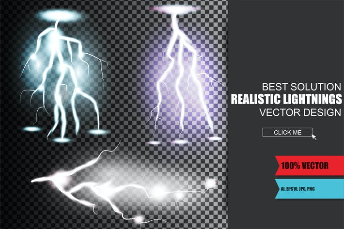 Thumbnail for Realistic Lightnings Vector