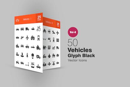 50 Fahrzeuge Glyphe Icons