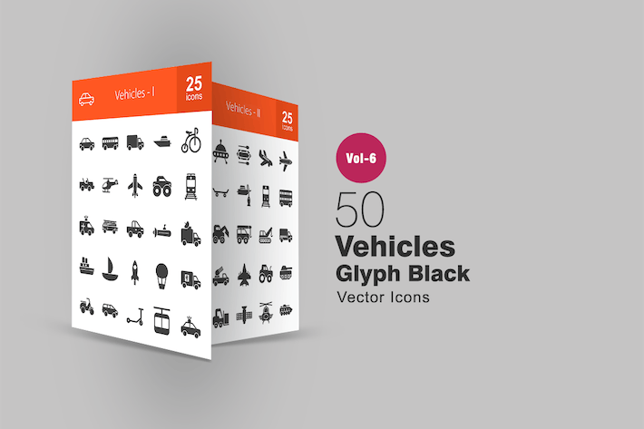 Thumbnail for 50 Vehicles Glyph Icons
