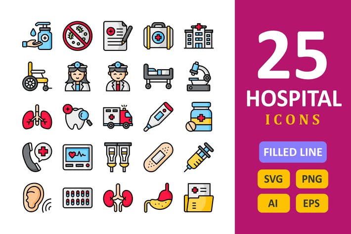 25 Hospital Icons - Filled Line