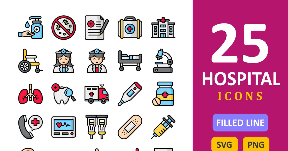 Download 25 Hospital Icons - Filled Line by vectorizone