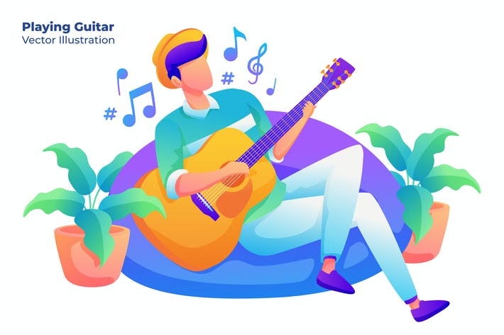 Thumbnail for Playing Guitar - Vector Illustration