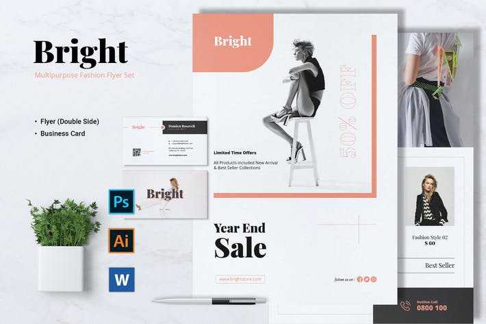 Thumbnail for BRIGHT Fashion Flyer & Business Card