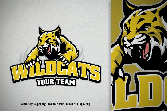 Thumbnail for jumping wildcat mascot logo