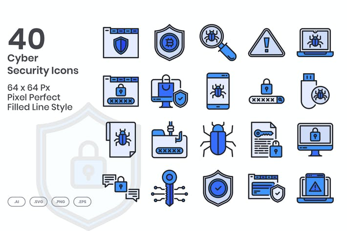 Thumbnail for Ensemble de 40 Icones de cybersécurité - Ligne remplie