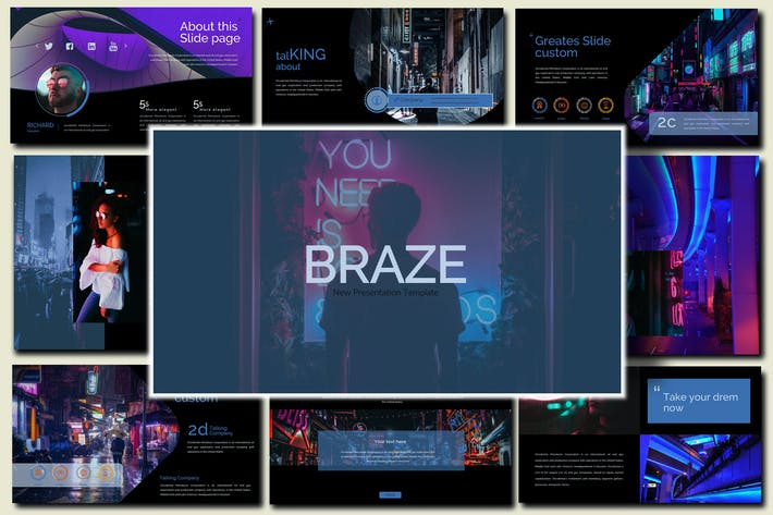 Thumbnail for Braze Dark Инновационная Powerpoint