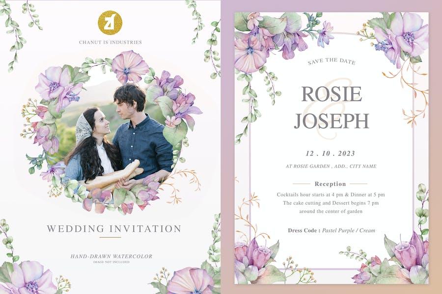 Honeywort-mallow Watercolor Wedding Invitation