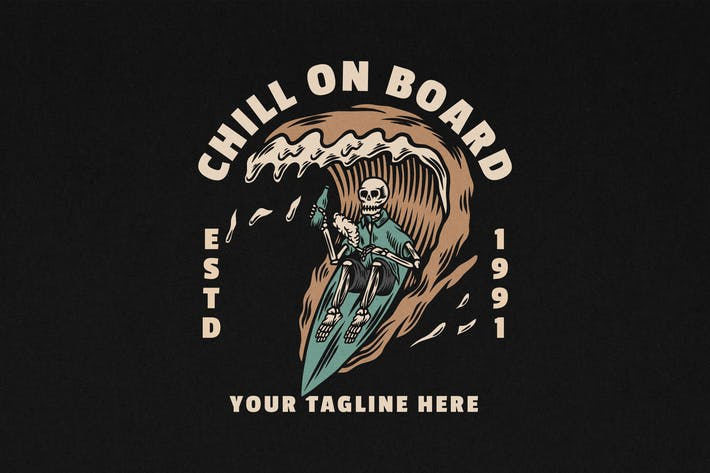 Chill An Bord Vintage Surfen Ilustration