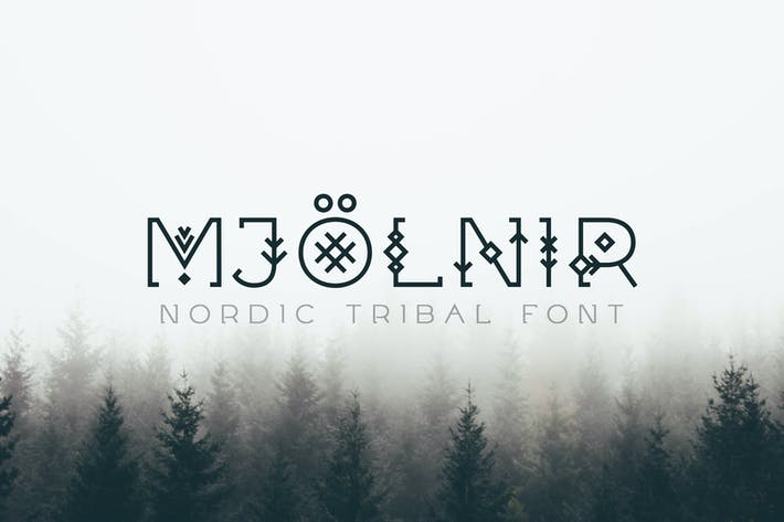 Thumbnail for Mjölnir - Nordic Tribal Font