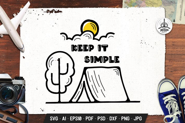 Thumbnail for Keep It Simple Badge Adventure Vector Emblem