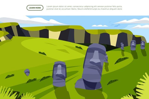 Moai Statue - Famous Landmark Illustration