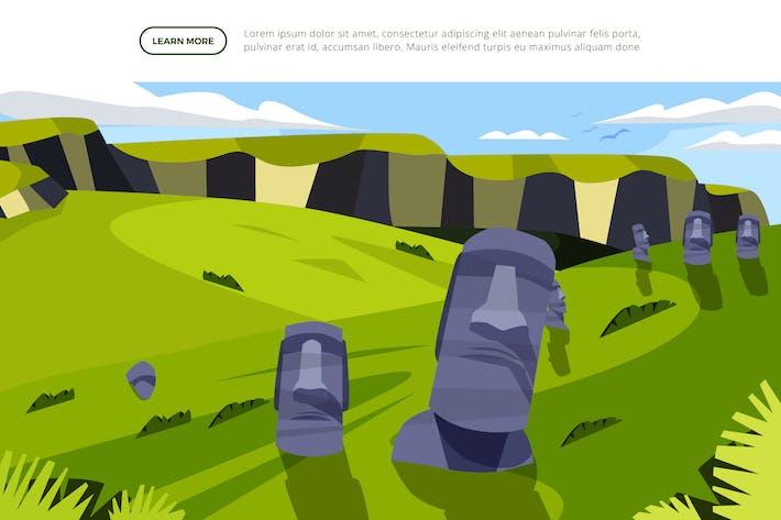 Moai-Statue - berühmte Wahrzeichen