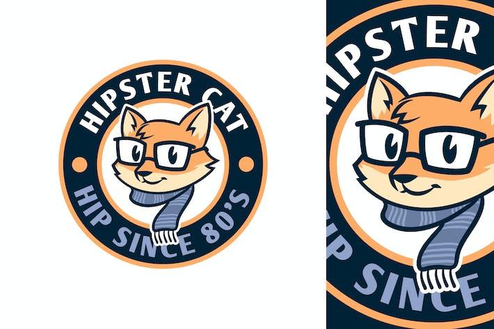 Thumbnail for Cartoon Hipster Cat Emblem Logo