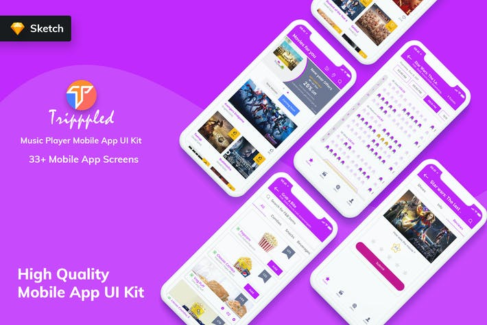 Thumbnail for Tripppled- Movie Booking MobileApp UI Kit (Sketch)