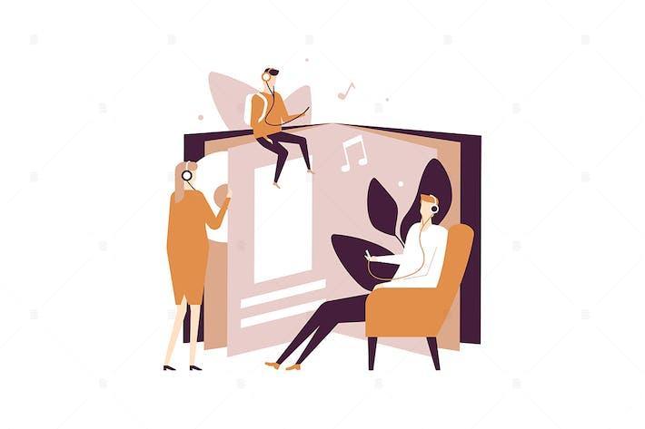 Thumbnail for Listening to audiobooks - flat design illustration