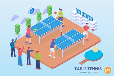 Isometrische Tischtennis-Vektor Konzept