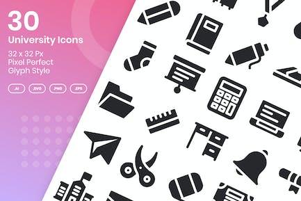 30 University Icons Set - Glyph