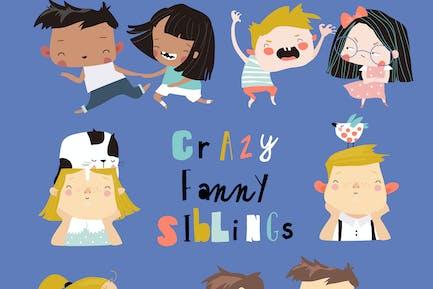 Vector set of cute cartoon diverse children, boys