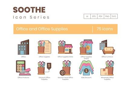 75 Büro- und Bürobedarf-Symbole - Soothe Serie