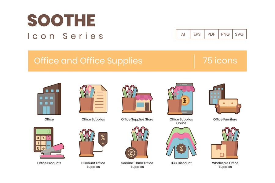 75 Office and Office Supplies Icons - Soothe Serie