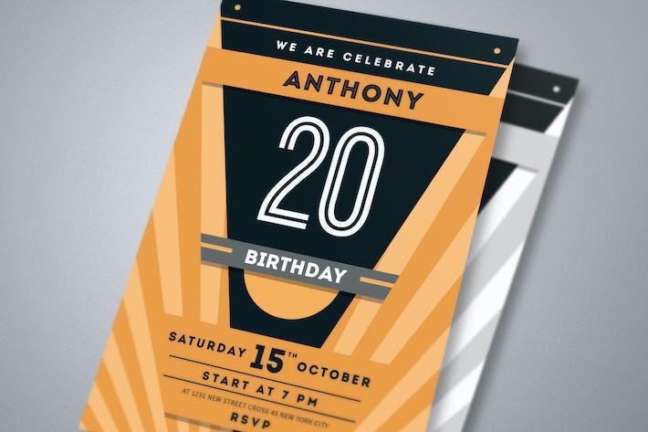 Thumbnail for Minimal Deco Anniversary Birthday Invitation