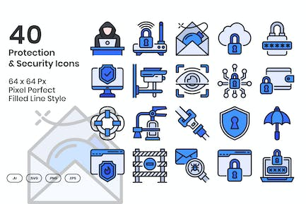 40 Protection & Security Icons Set - Filled Line